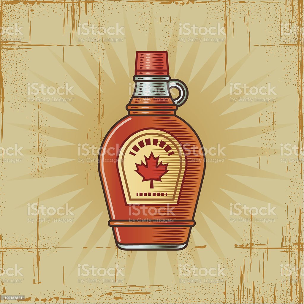 Retro Maple Syrup Bottle vector art illustration