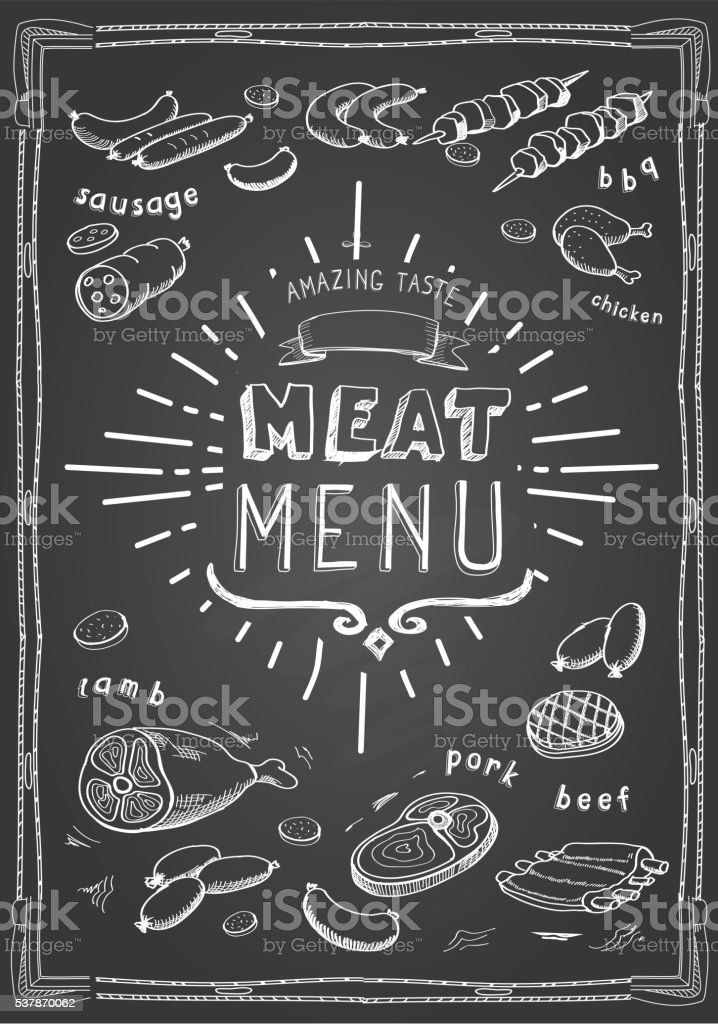 Retro meat menu icons on chalkboard with lamb chops sausage vector art illustration