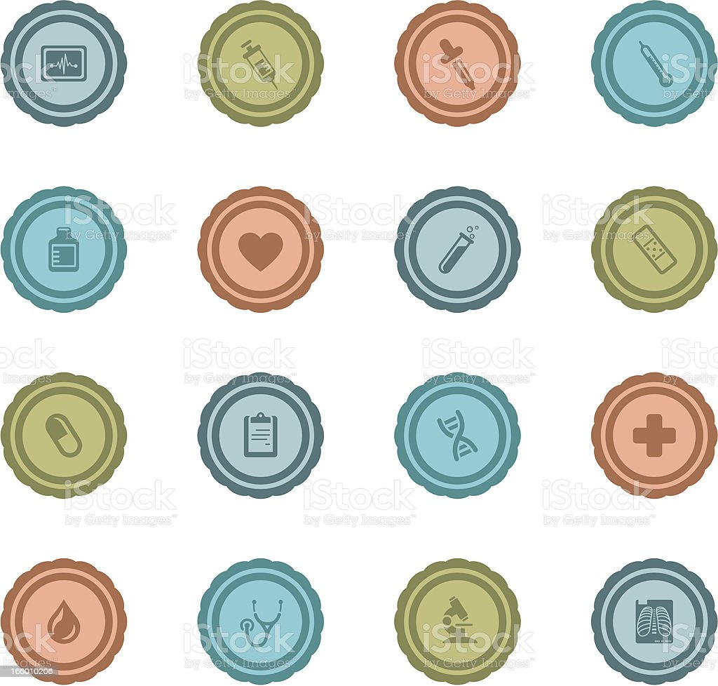 Retro Medical and Healthcare Badges vector art illustration