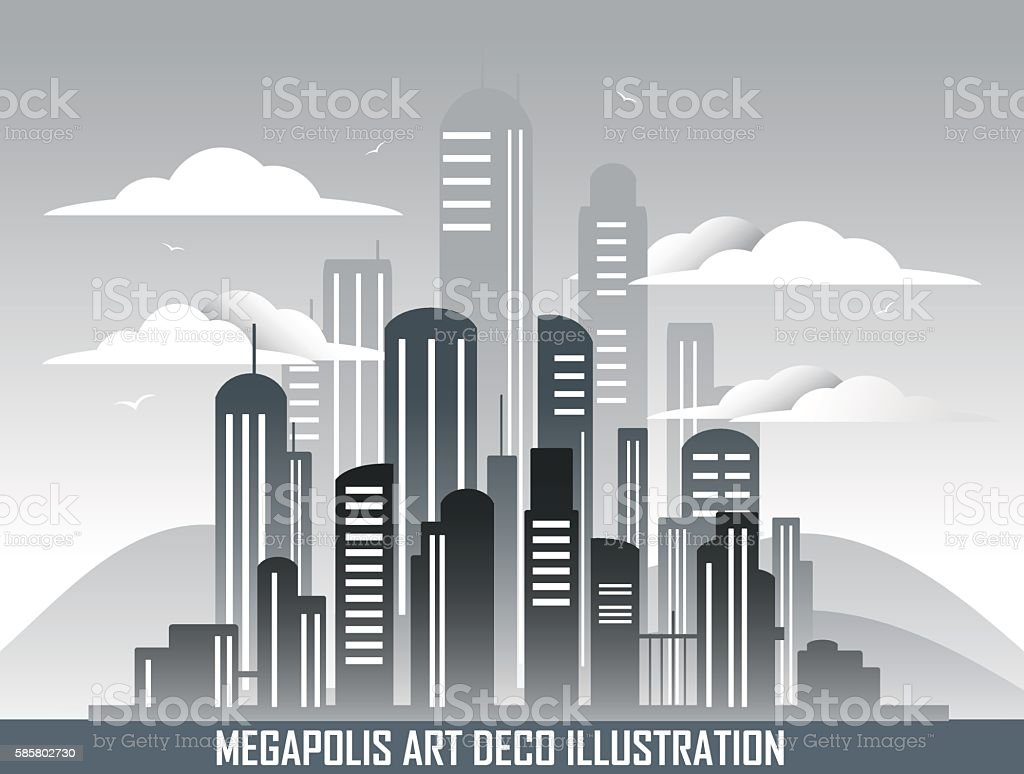 Retro megalopolis in art deco style. vector art illustration
