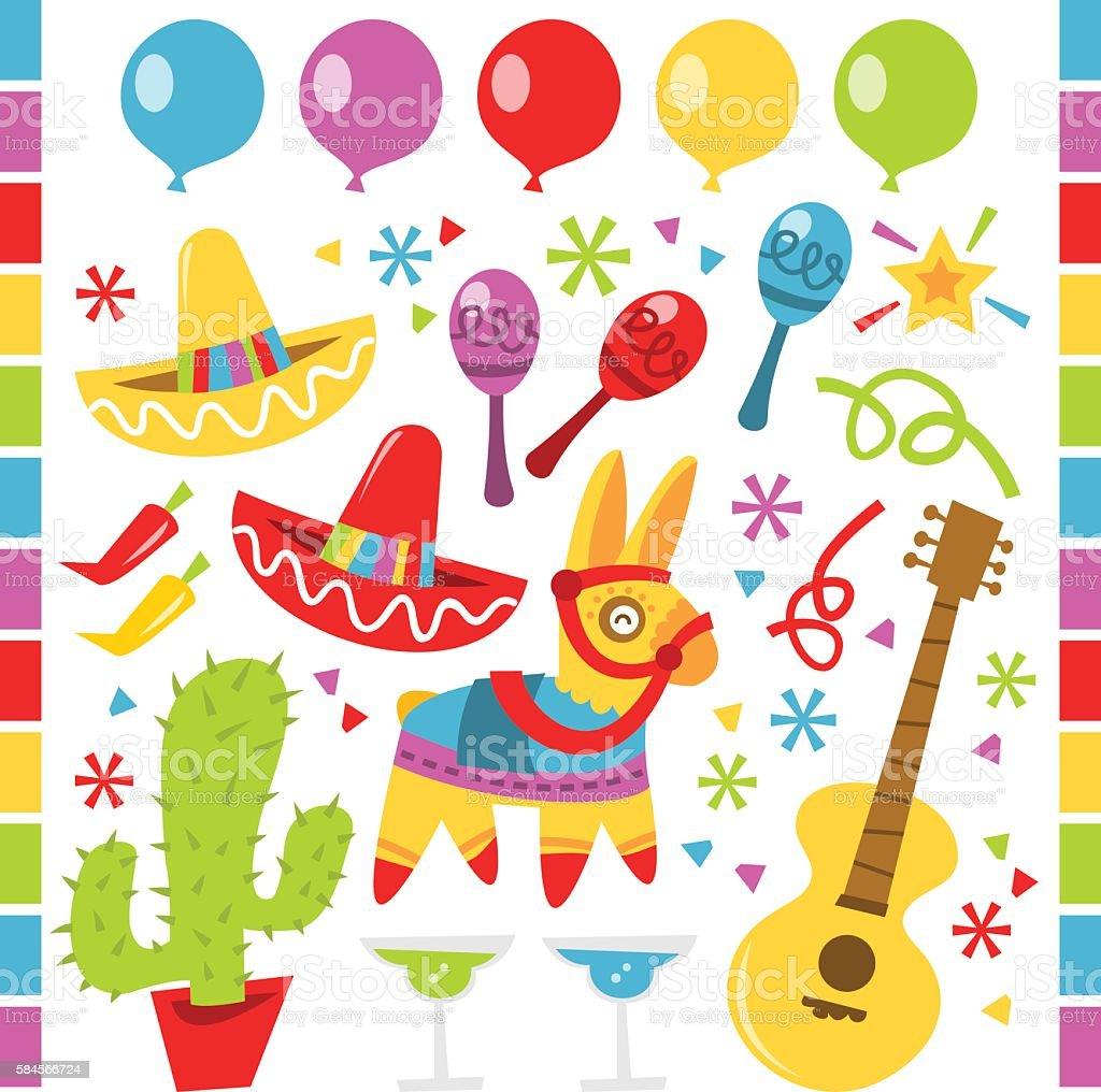 Retro Mexican fiesta party design elements vector art illustration