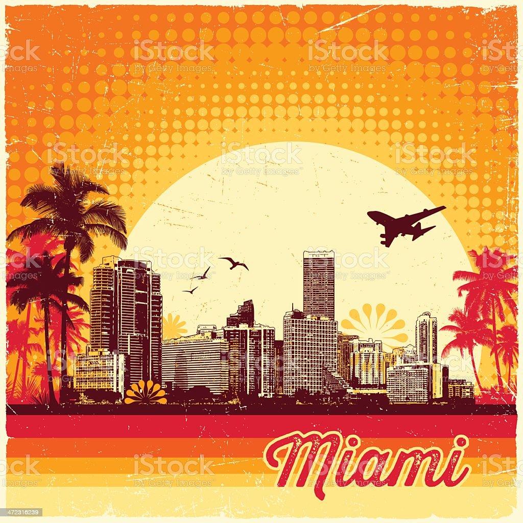 Retro Miami Skyline vector art illustration