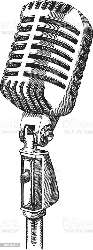Retro Microphone vector art illustration