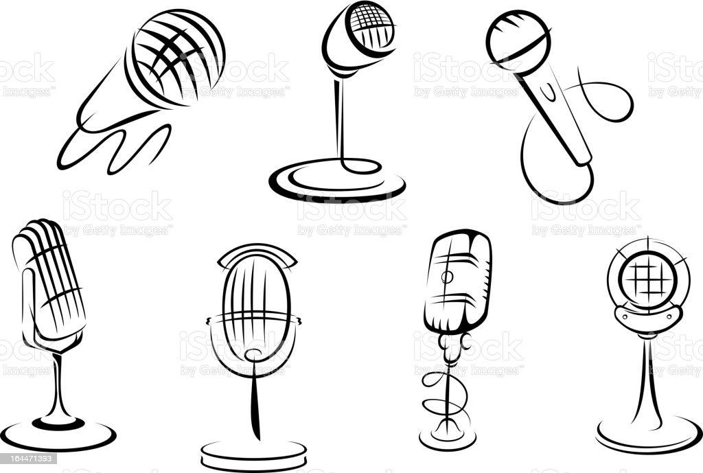 Retro microphones sketches vector art illustration