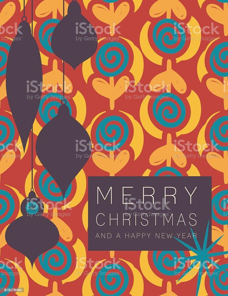 Retro Mid Century Modern Style Holiday Card vector art illustration