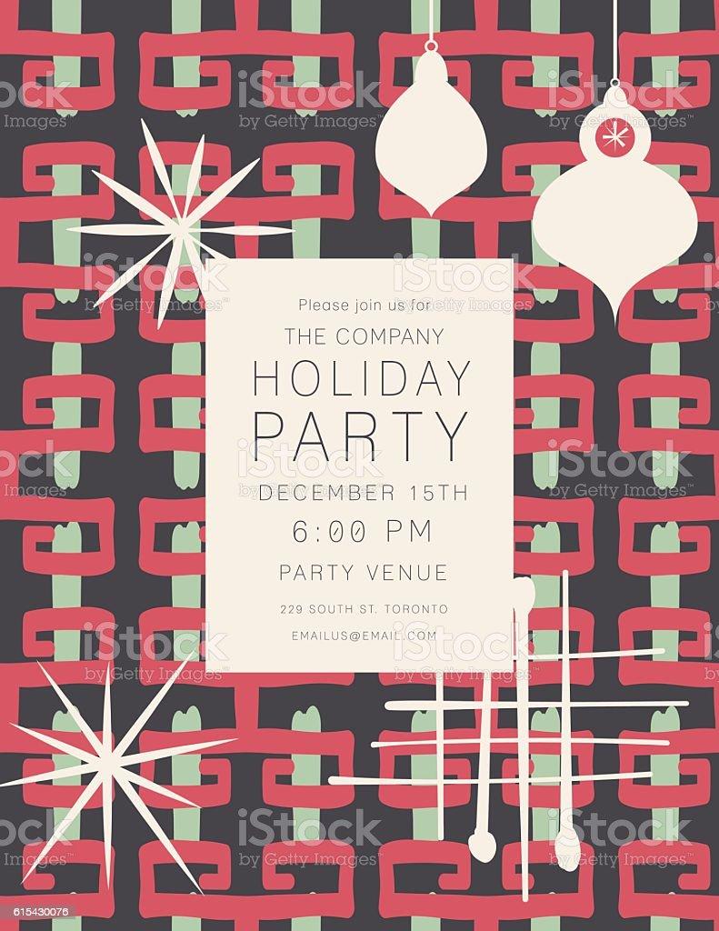 Retro Mid Century Modern Style Holiday Party Invitation vector art illustration