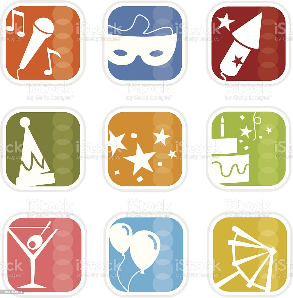 Retro Mod Party Mix Icons royalty-free stock vector art
