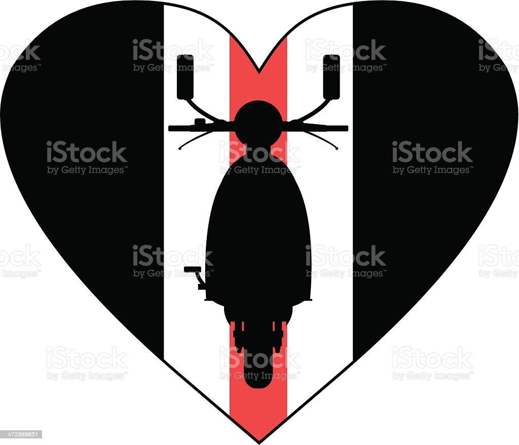 Retro Mod Scooter Heart royalty-free stock vector art