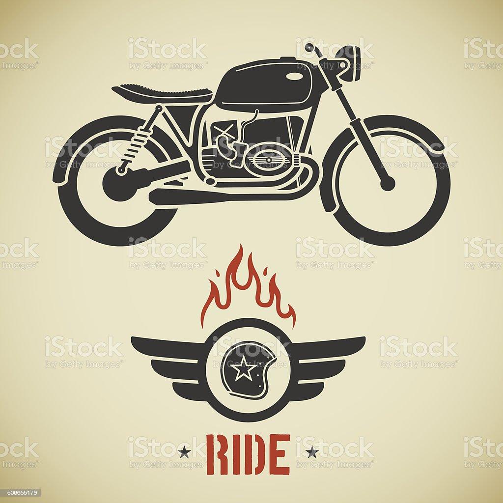 Retro motorcycle vector art illustration