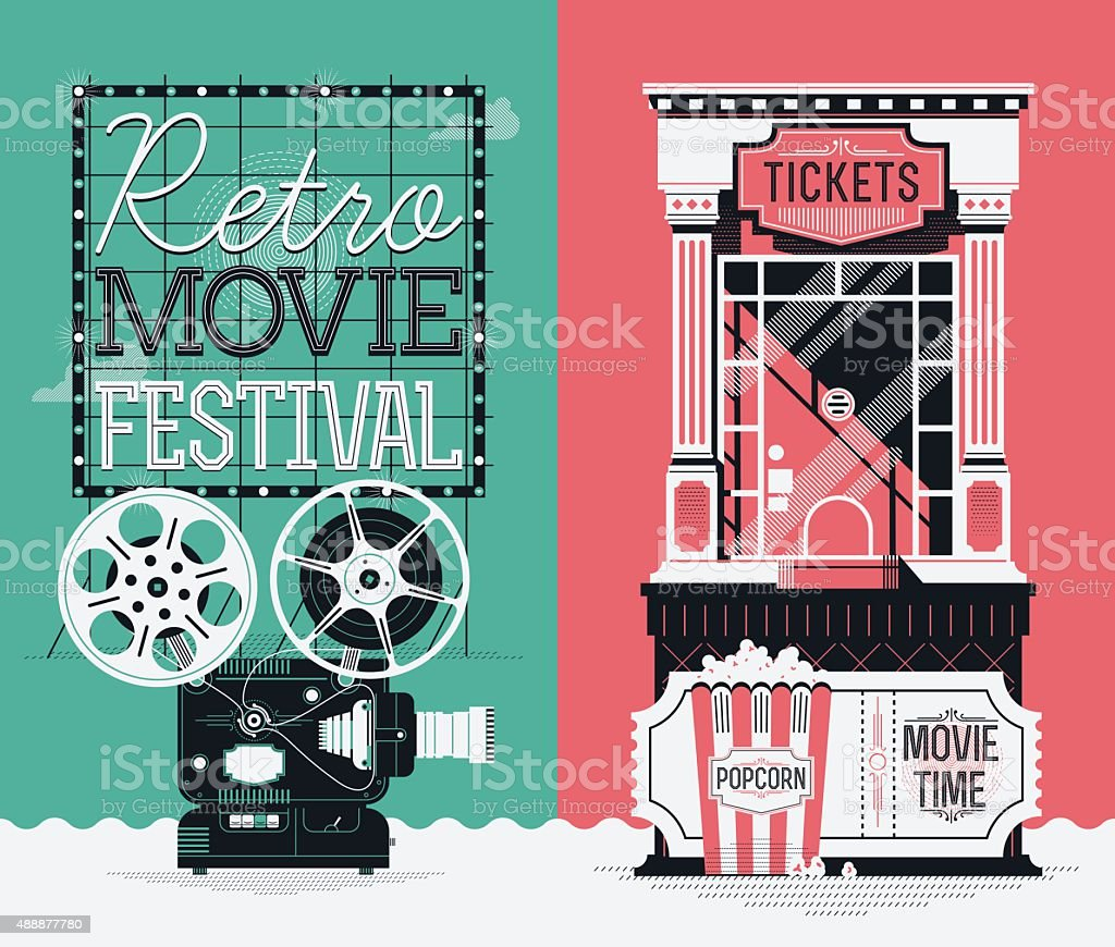 Retro Movie Festival poster template vector art illustration