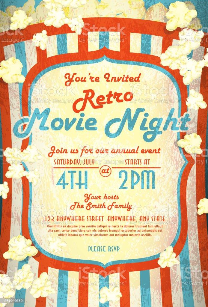 Retro movie night invitation design template vector art illustration