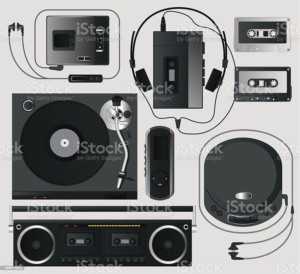 Retro Music Player vector art illustration