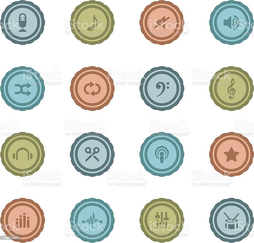 Retro Music Production Badges royalty-free stock vector art