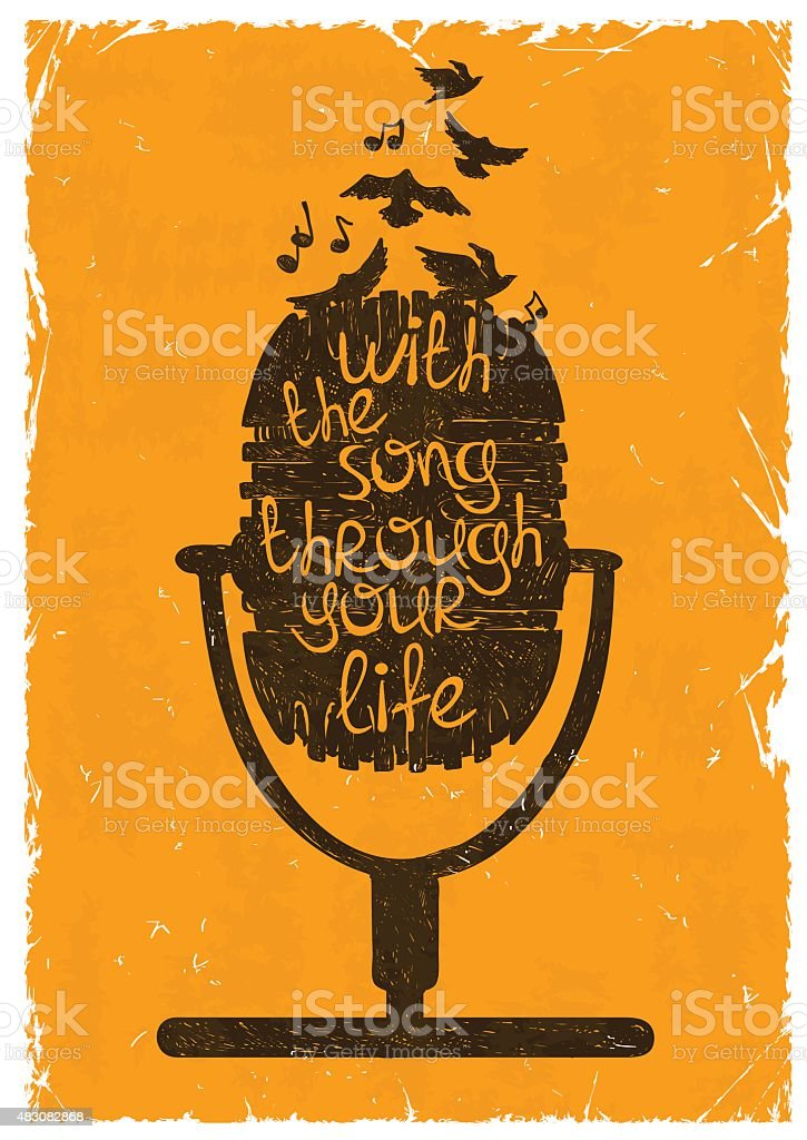 Retro musical illustration with silhouette of microphone. vector art illustration