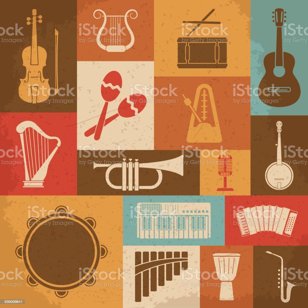 Retro Musical Instruments Icons. Vector illustration vector art illustration