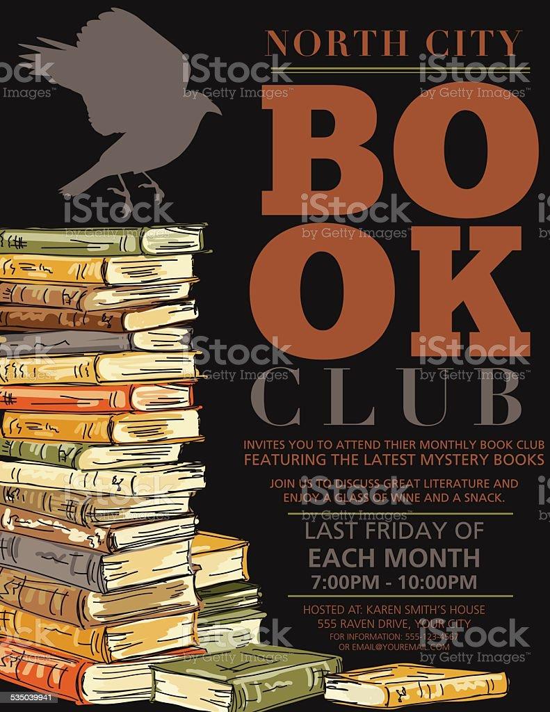Retro Mystery Book Club Invitation Poster vector art illustration