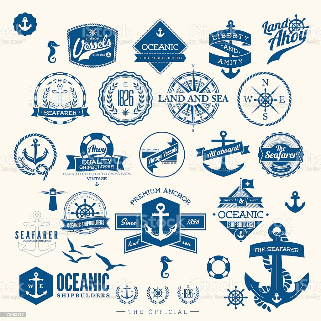 retro nautical badges and labels vector art illustration