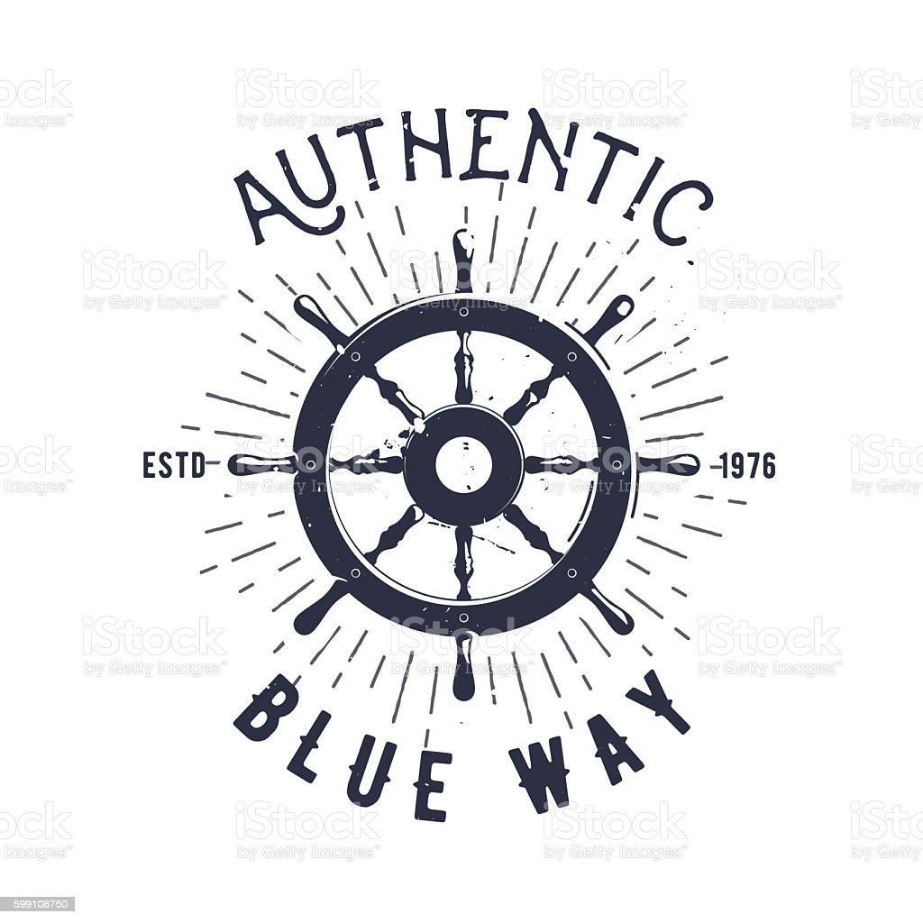 Retro nautical label with wheel, sunburst and lettering. Vector illustration. vector art illustration