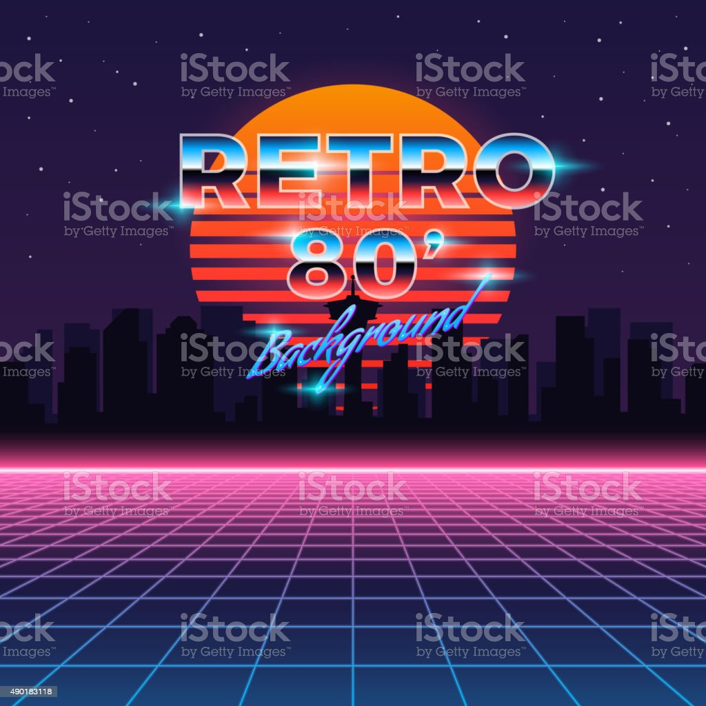 Retro neon abstract Sci-Fi vector background in 80s style vector art illustration