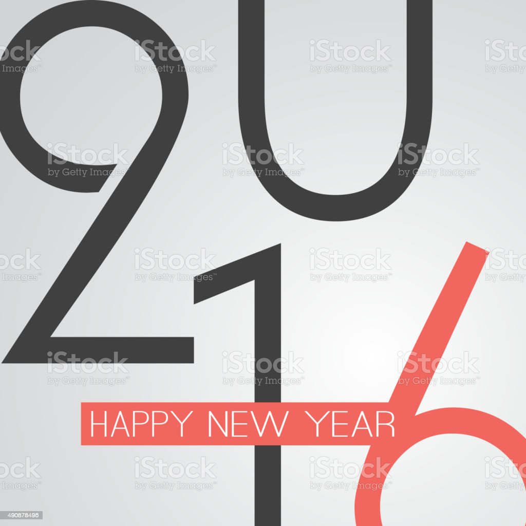 Retro New Year Card - 2016 vector art illustration