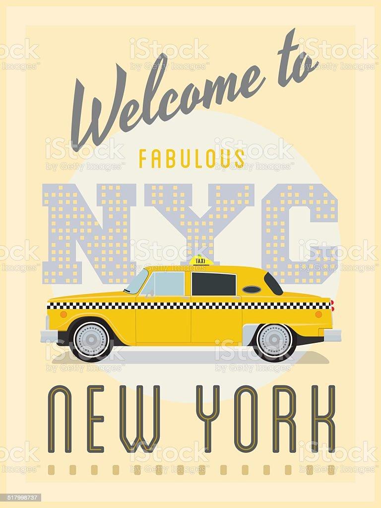 Retro New York Taxi Poster Vector Illustration vector art illustration