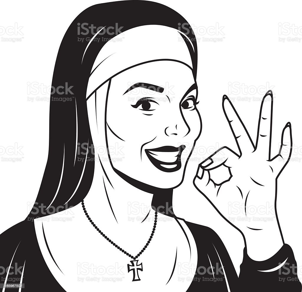 Retro Nun Giving OK Sign vector art illustration