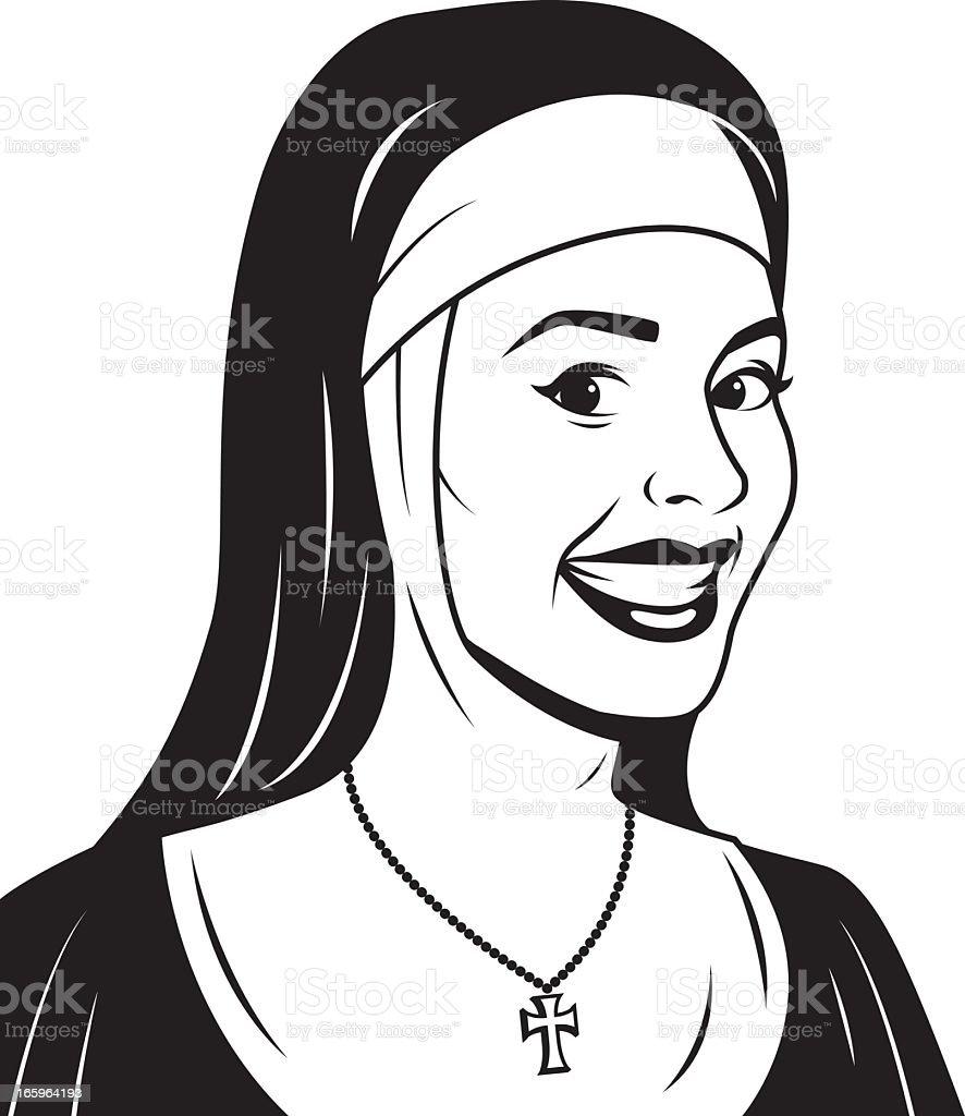 Retro Nun vector art illustration