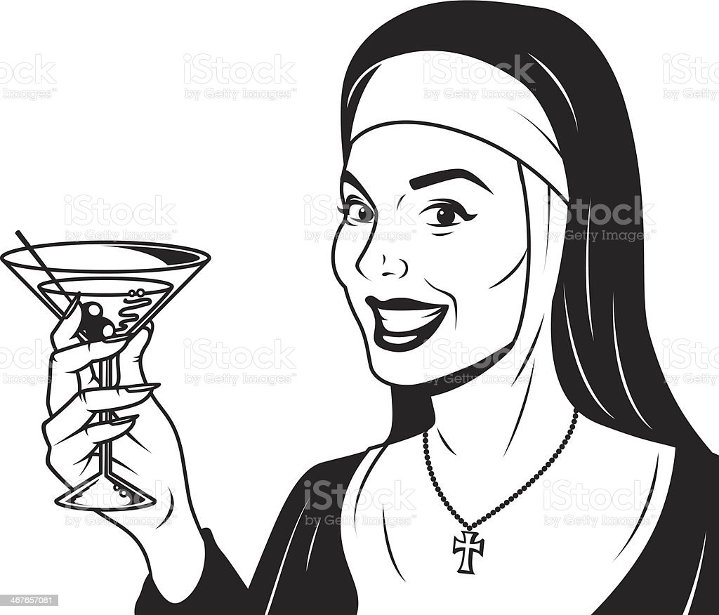 Retro Nun With Martini royalty-free stock vector art