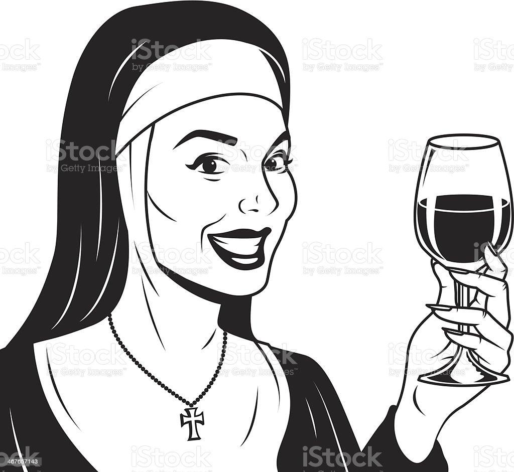 Retro Nun With Wine vector art illustration