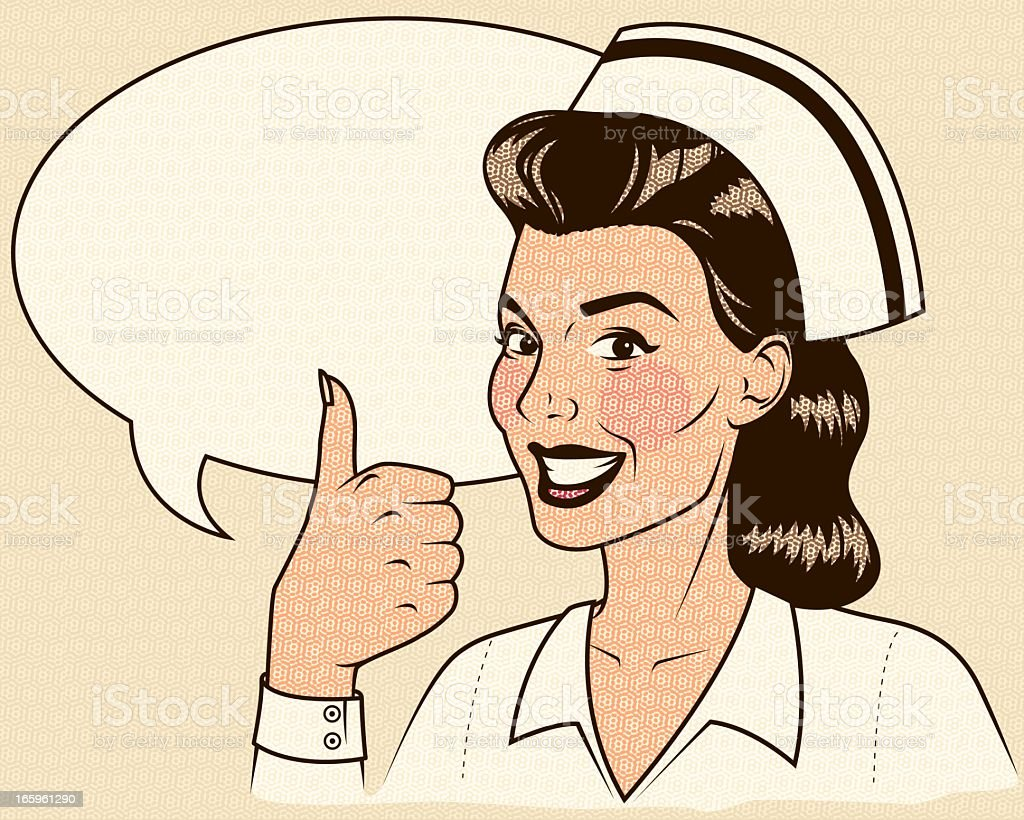 Retro Nurse Giving a Thumb's Up with Speech Bubble royalty-free stock vector art