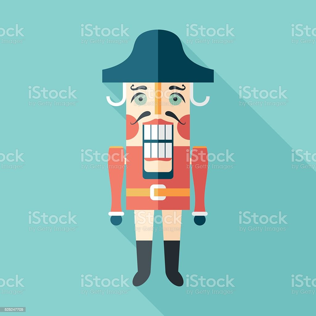 Retro nutcracker flat square icon with long shadows. vector art illustration