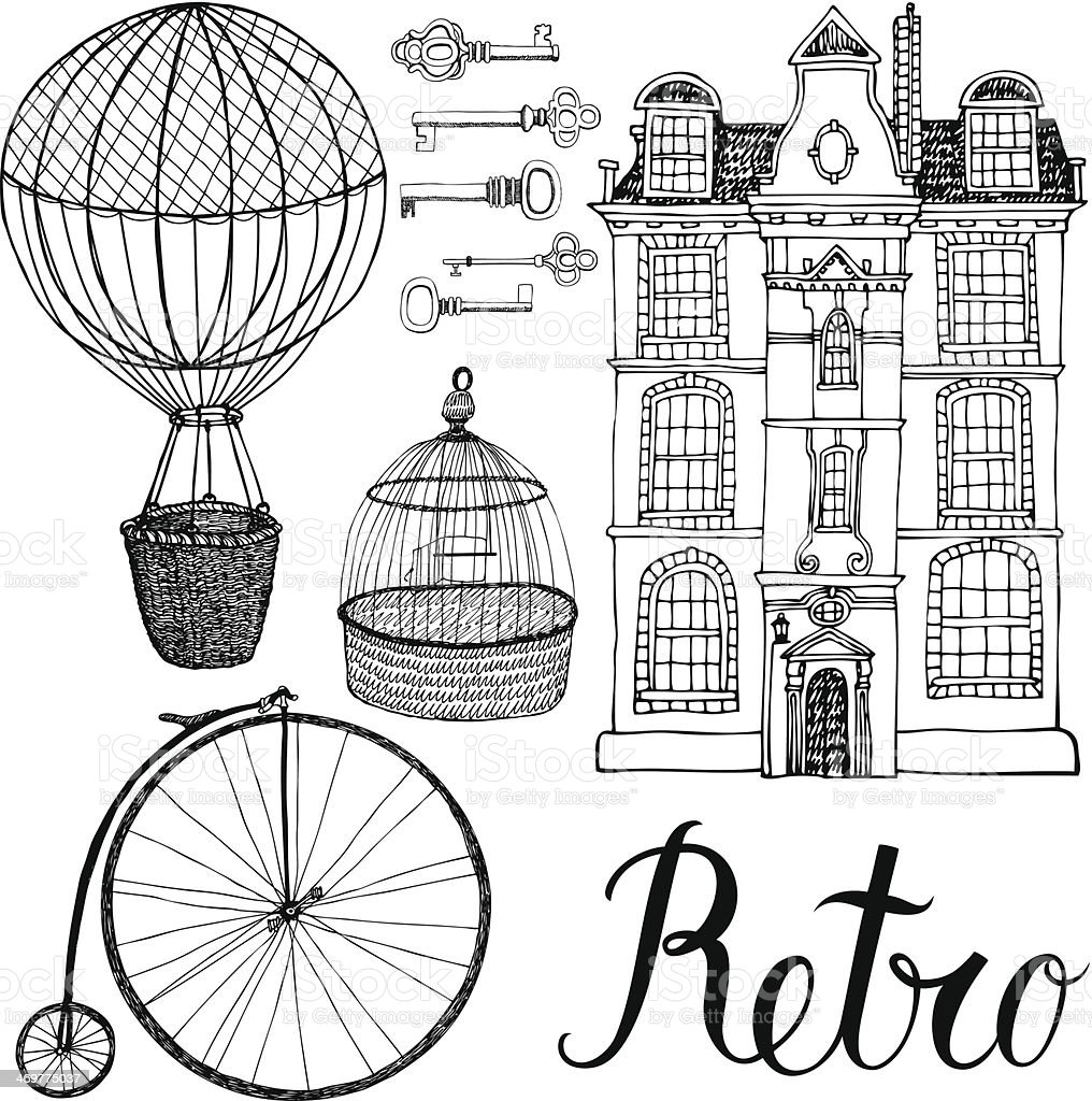 Retro objects, house and transport. Hand drawing and calligraphy vector art illustration