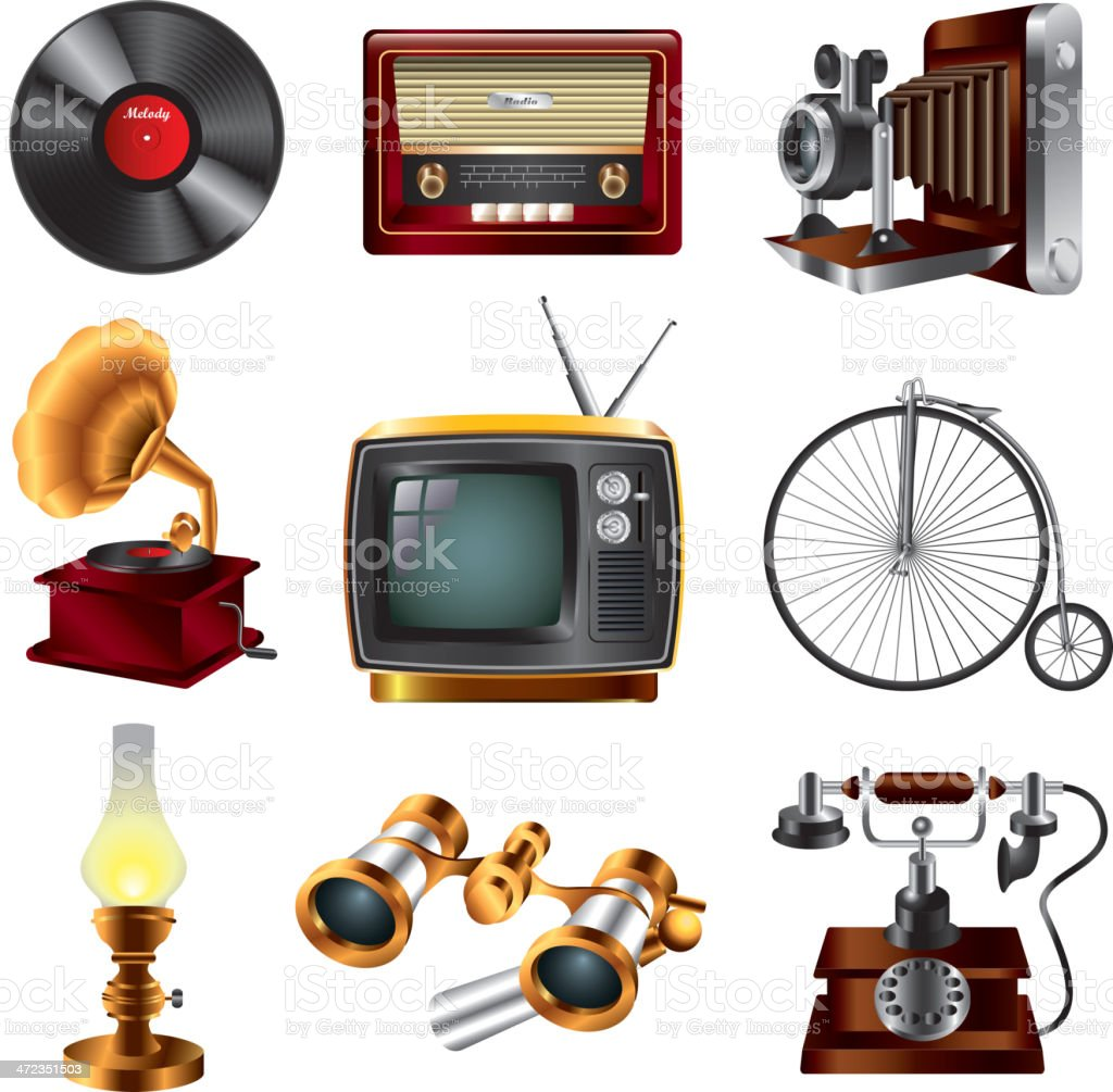 retro objects icons set royalty-free stock vector art