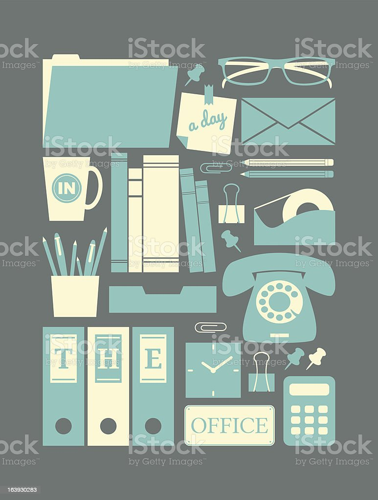 Retro Office Icons Collection royalty-free stock vector art