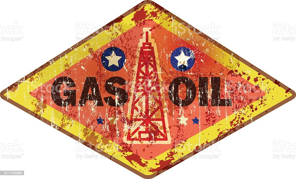 retro oil and gas advertising sign vector art illustration