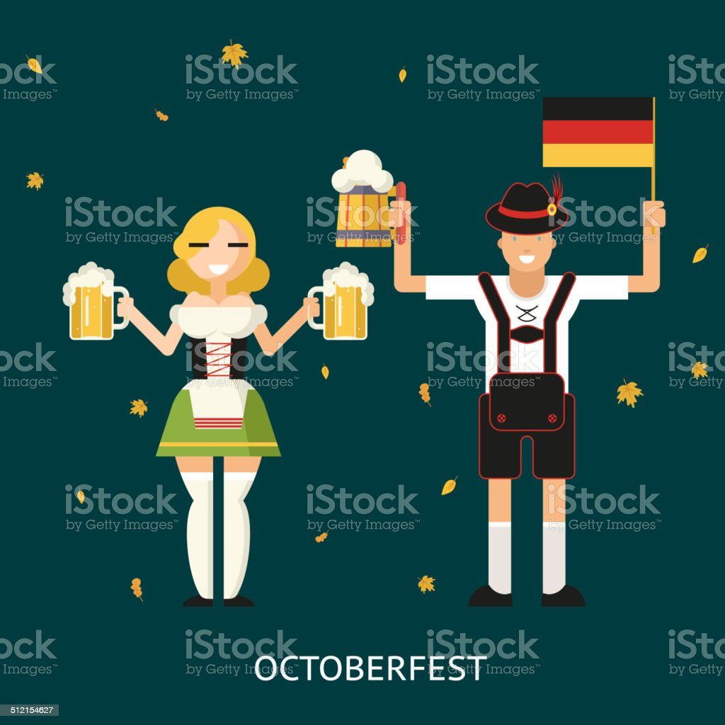 Retro Oktoberfest Male and Female Characters in Traditional Costumes with vector art illustration