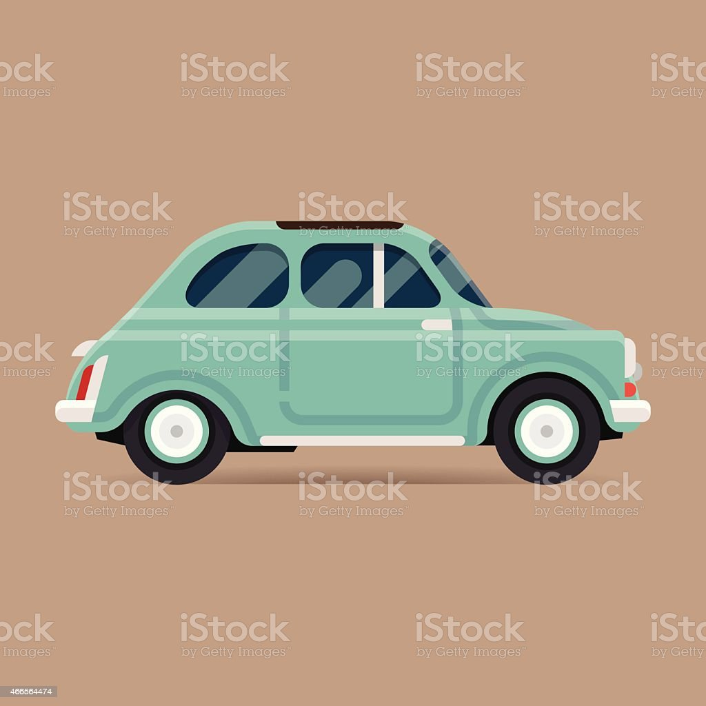 retro old fashioned european city small car vector art illustration