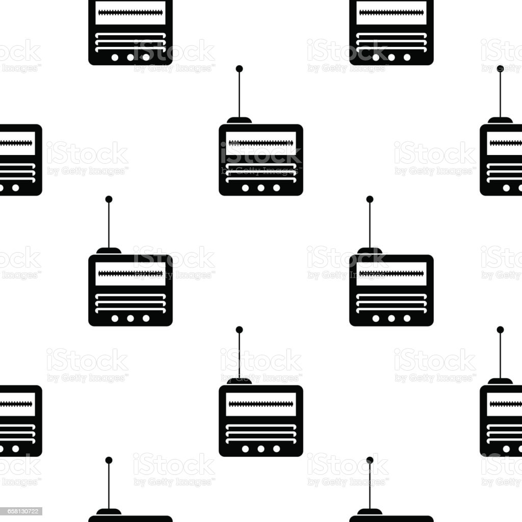 Retro Old Radio Icon Seamless Pattern vector art illustration