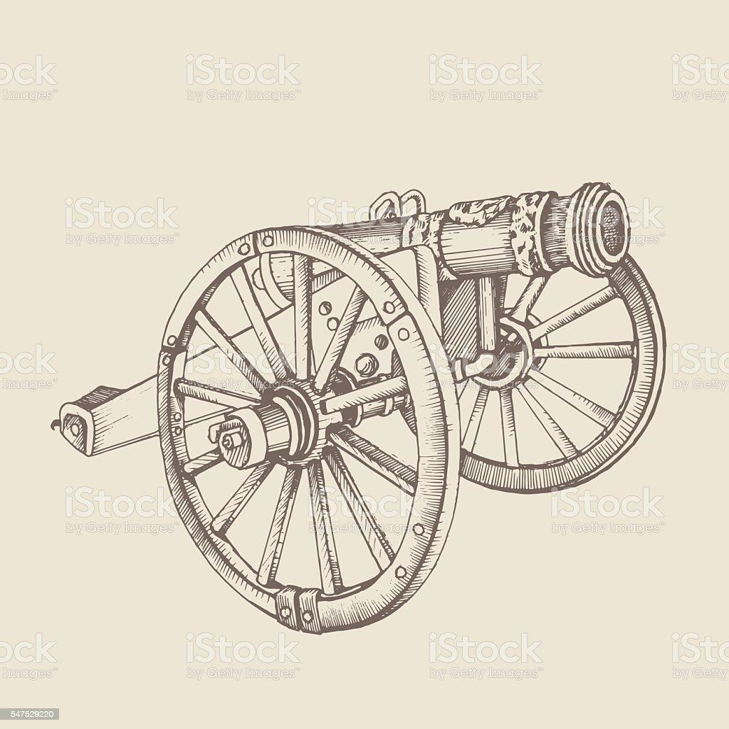 Retro old style cannon. vector art illustration