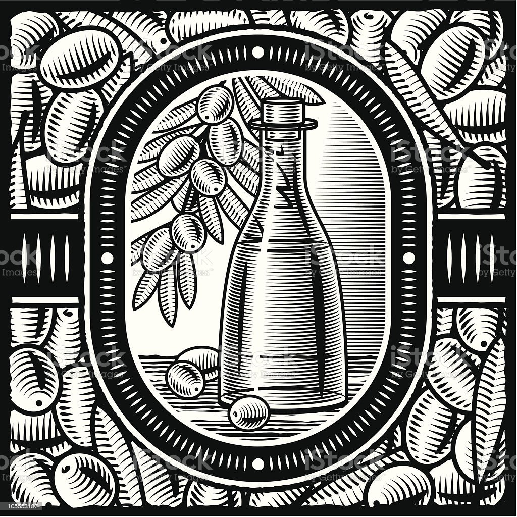 Retro olive oil black and white royalty-free stock vector art