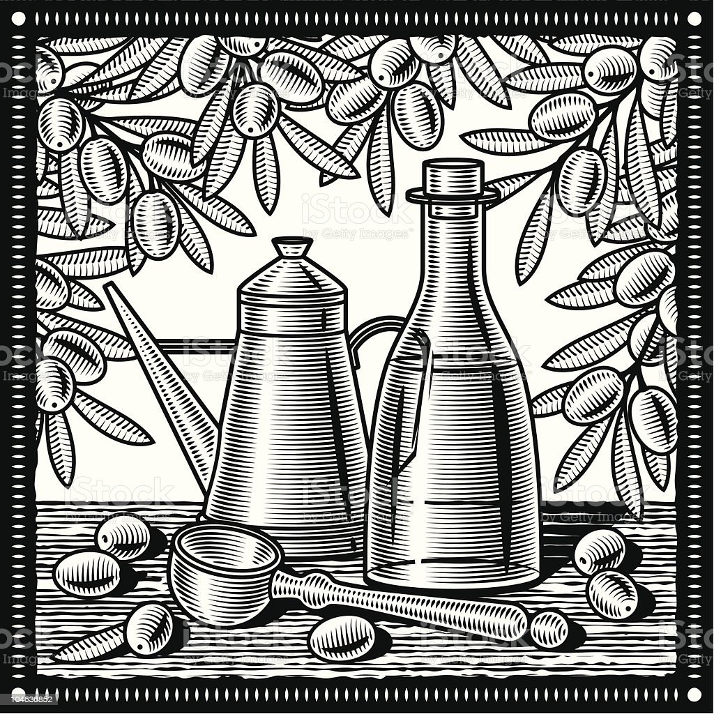 Retro olive oil still life black and white royalty-free stock vector art