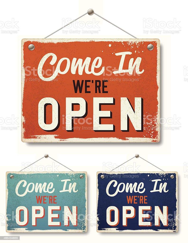 Retro Open Business Signs vector art illustration