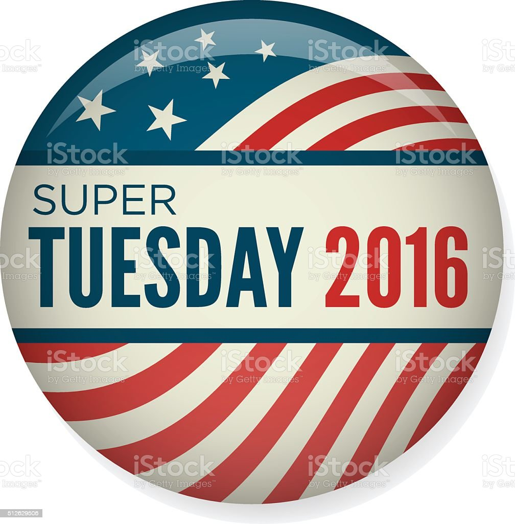 Retro or Vintage Style Super Tuesday Campaign Election Pin Button vector art illustration