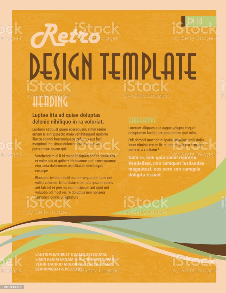Retro orange and blue presentation template with sample text layout vector art illustration