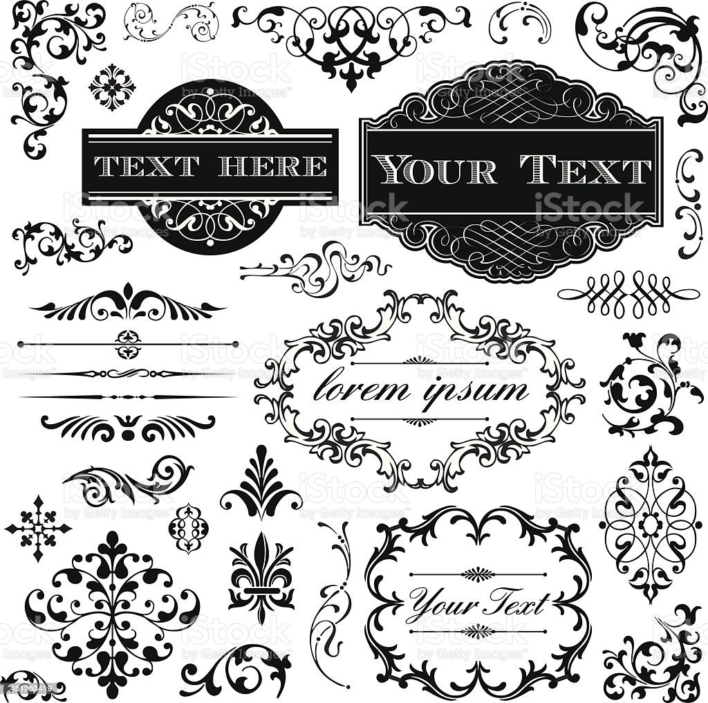 Retro Ornament Set vector art illustration