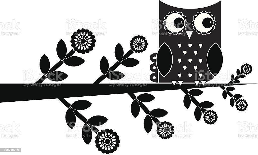 Retro Owl vector art illustration