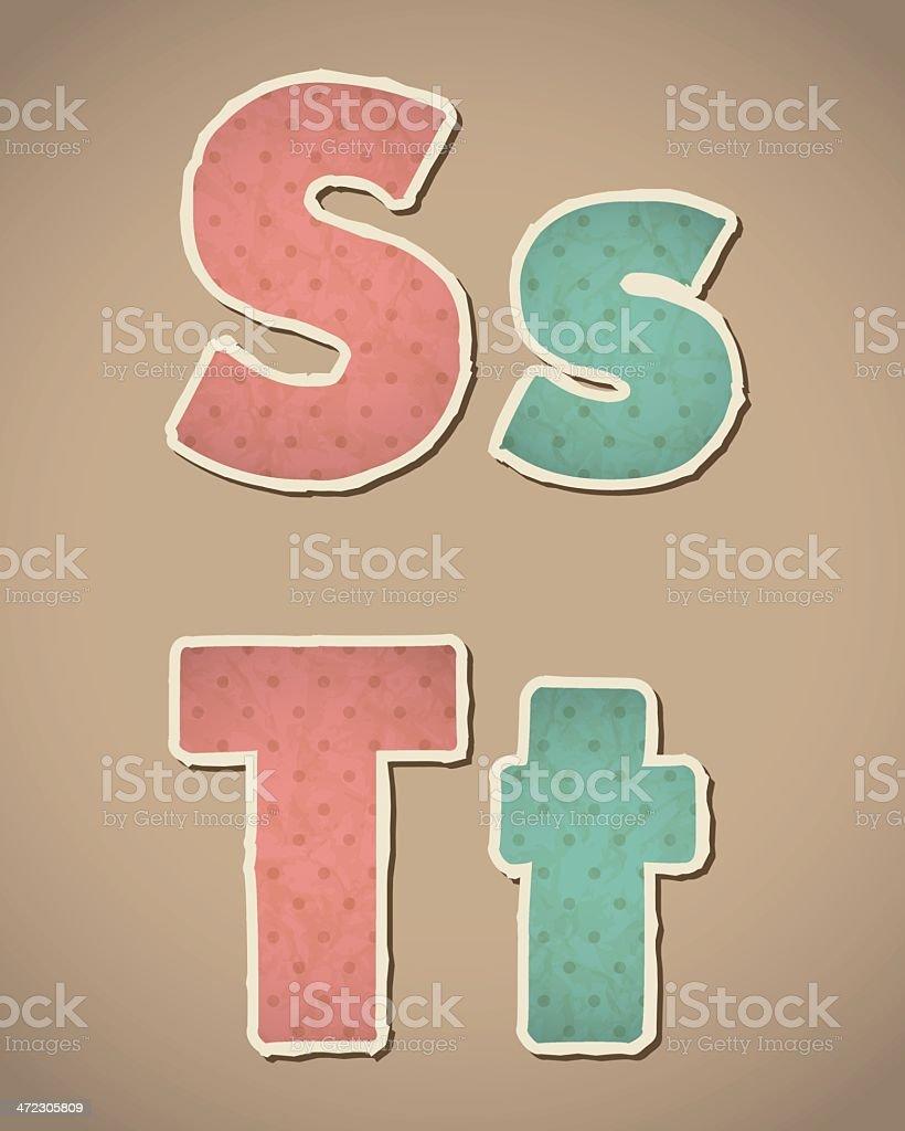 Retro paper alphabet royalty-free stock vector art