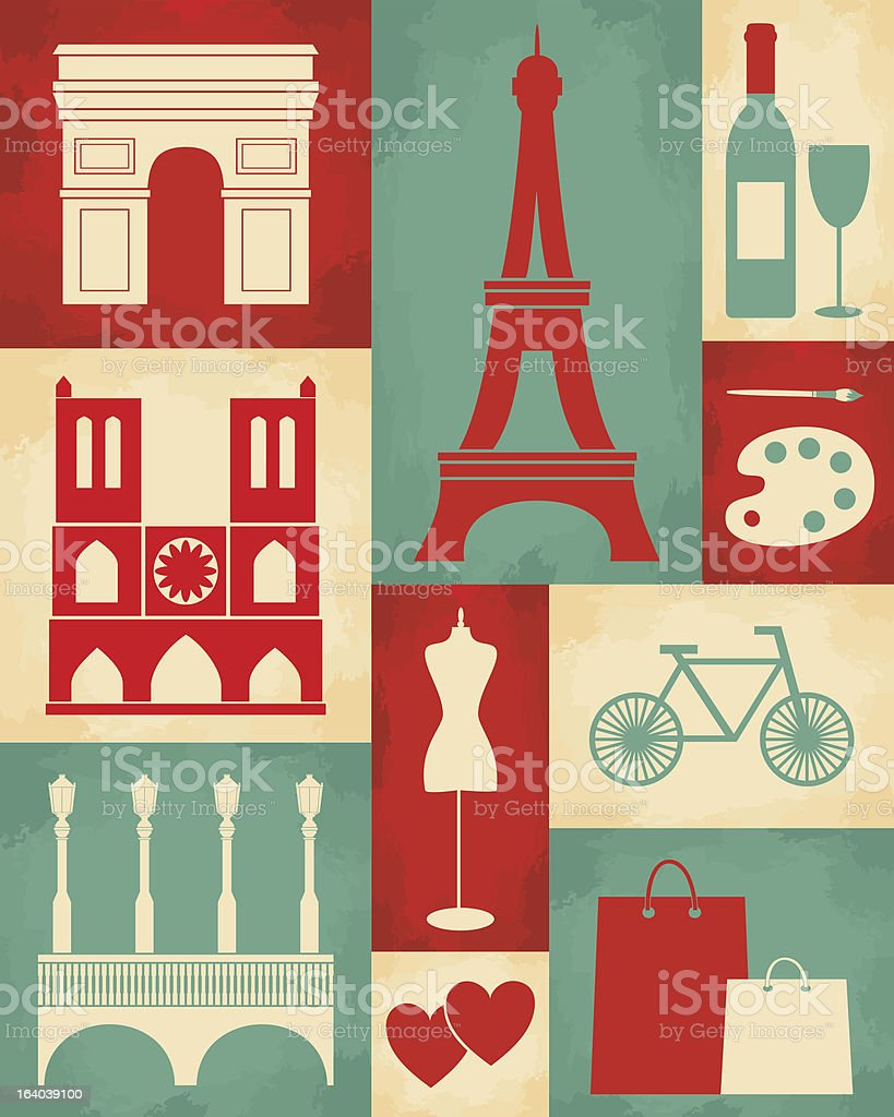 Retro Paris Poster royalty-free stock vector art