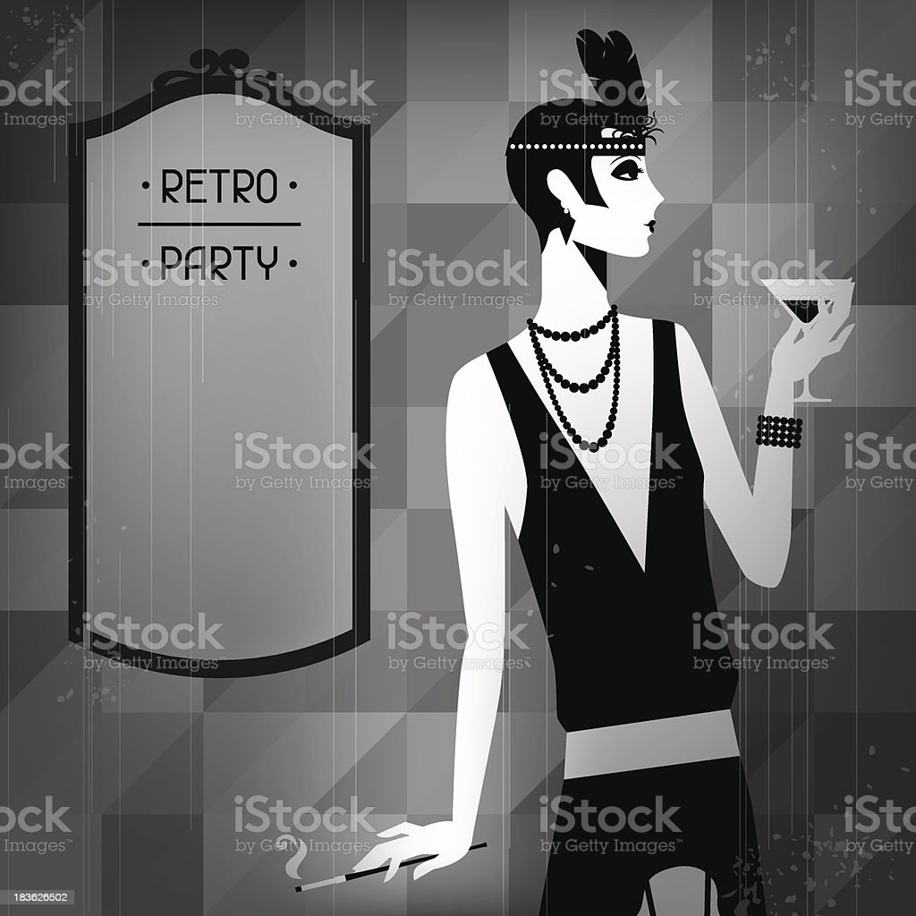 Retro party background with beautiful girl of 1920s style. royalty-free stock vector art