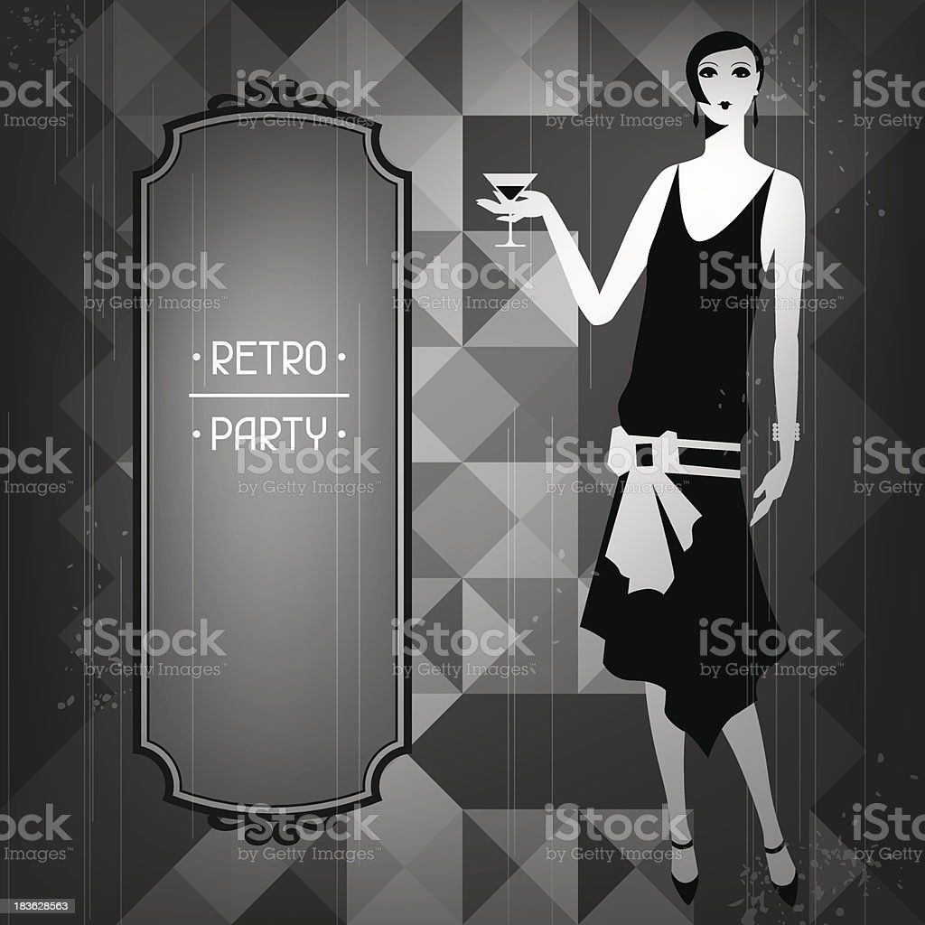 Retro party background with beautiful girl of 1920s style. vector art illustration